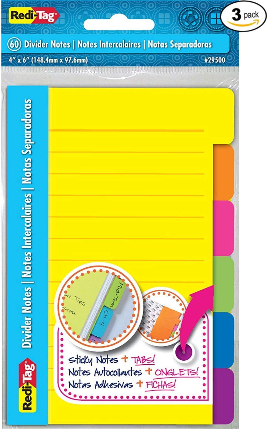 Tabbed Self-Stick Lined Note Pad 60 1 Pack Redi-Tag Divider Sticky Notes