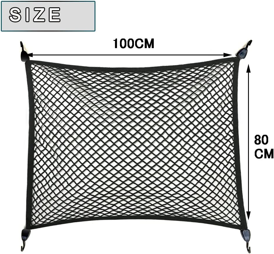 Truck Premium Quality Adjustable Elastic Cargo Net Universal Stretchable Truck Net with Hooks,Storage bag for Car SUV Pickup Trucks/Black 32x24in
