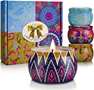 Scented Candles, YINUO LIGHT Gift Set, Portable Travel Tin Candle Aromatherapy Set of Soy Wax 22 Oz , 15 Hour Burn Time Per Candle, Perfect for Christmas Gift Women Bath Yoga Home Birthday Outdoors - Set of 4