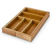 Relaxdays Besteckkasten verstellbar H x B x T: ca. 5 x 48 x 46 cm Schubladeneinsatz aus Bambus mit 5 bis 7 Fächern als Besteckeinsatz und Küchenorganizer große Besteckeinlage für die Schublade, natur