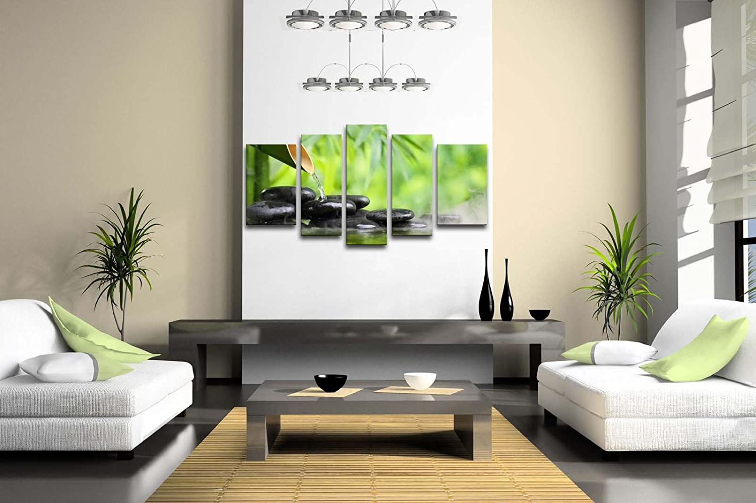Amazon.com: 5 Panel Wall Art Green Spa Still Life With Bamboo ...