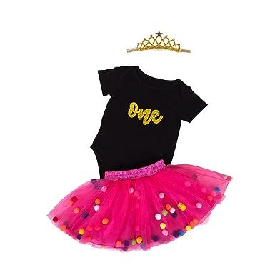 5bab529b2442 Marlegard Baby Girls 1st Birthday Outfit Glitter One Romper Balls Skirt  Crown Headband: Amazon.co.uk: Clothing