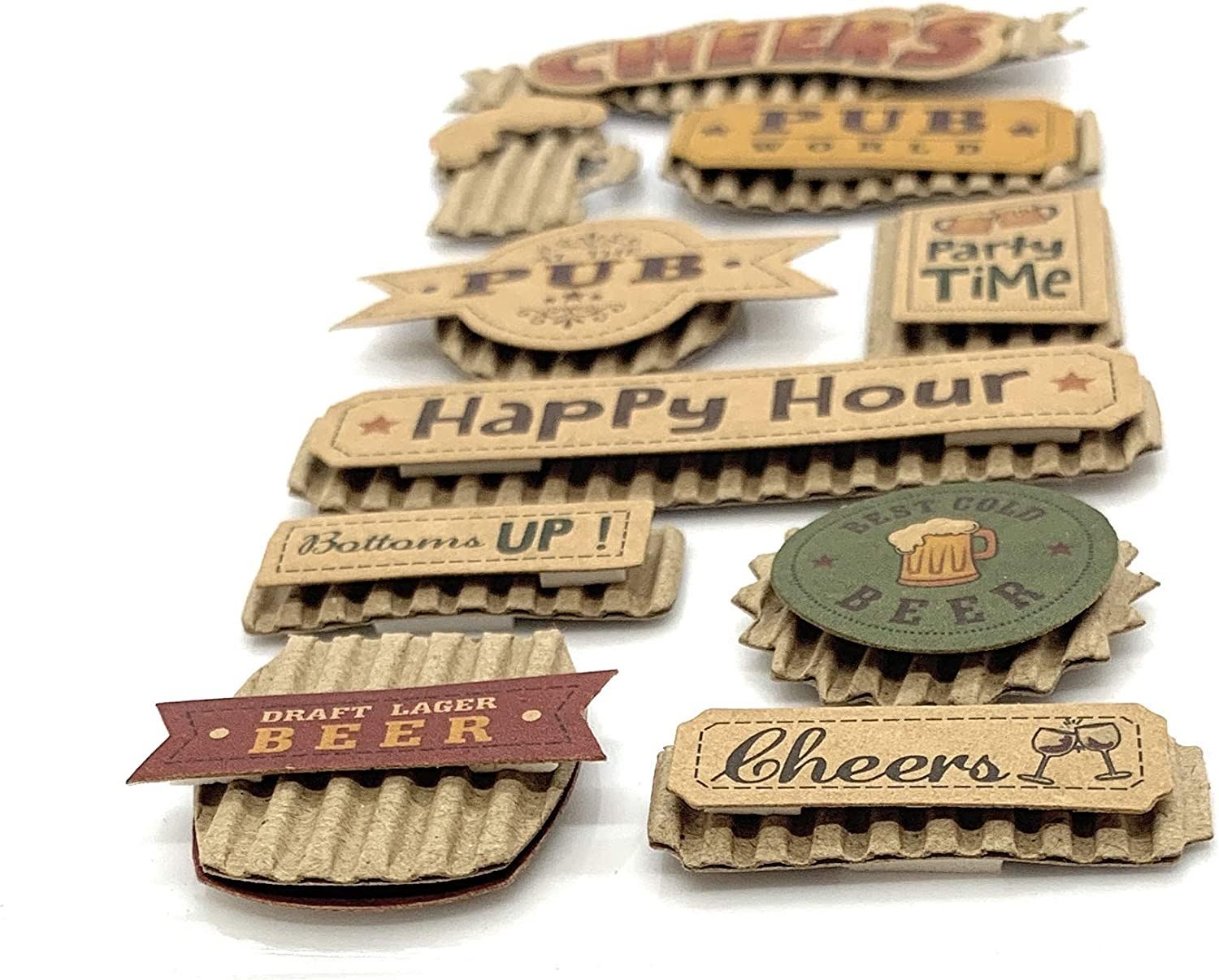 JourneyCraft Perfect for Scrapbooking Beer Stickers 10pc! Dad Stickers Pub Theme 3D Stickers Kraft Style Cheers! Scrapbook Stickers