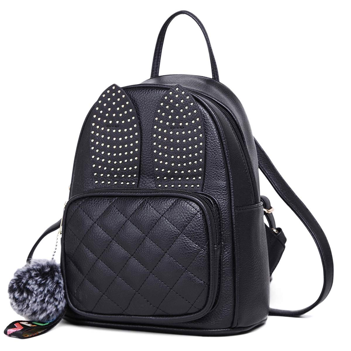 bf49b1044602 Details about Girls Rabbit Ear Cute Leather Small Women Fashion Bag Black  Shoulder Backpack