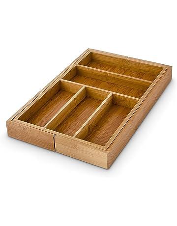 Relaxdays 10016742 - Bandejas de cubiertos, ancho extensible 30-48 cm, bambú