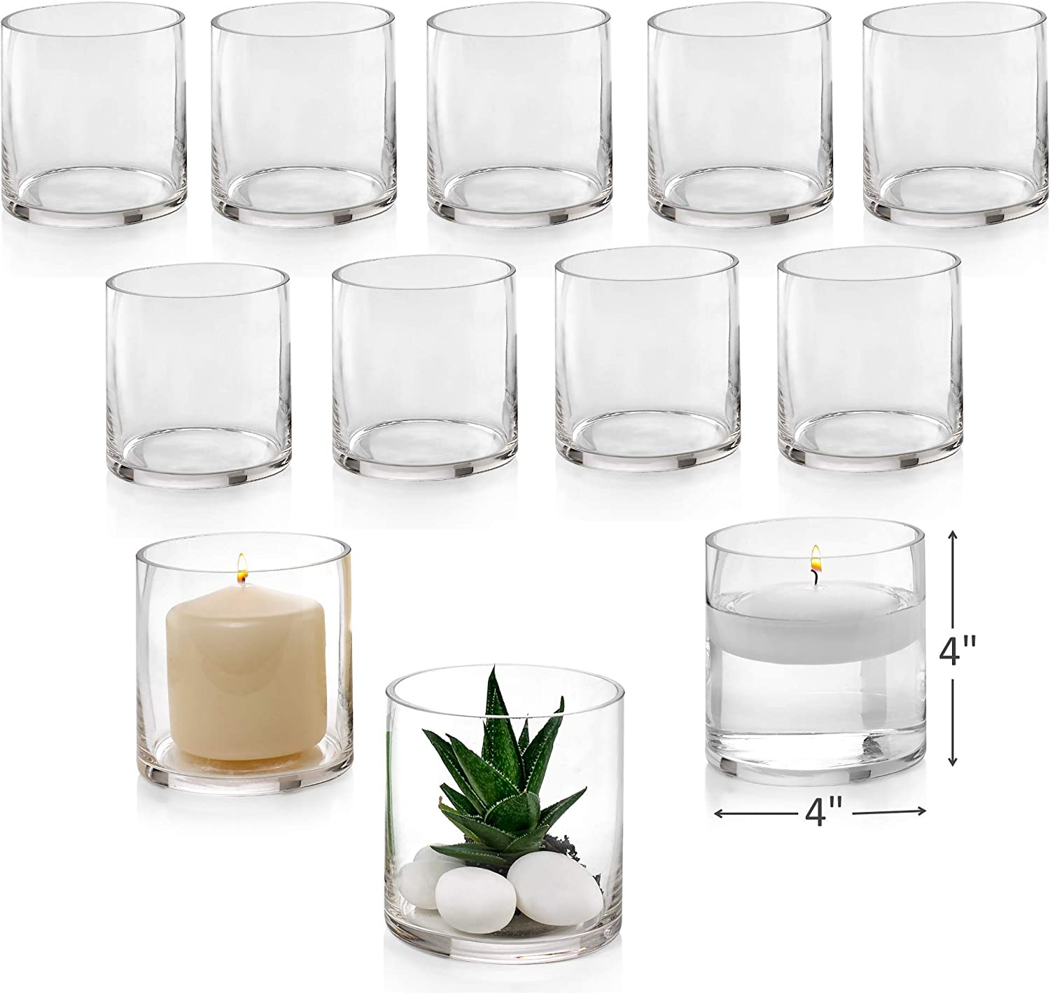Set of 12 Glass Cylinder Vases 4 Inch Tall - Multi-use: Pillar Candle, Floating Candles Holders or Flower Vase – Perfect as a Wedding Centerpieces.