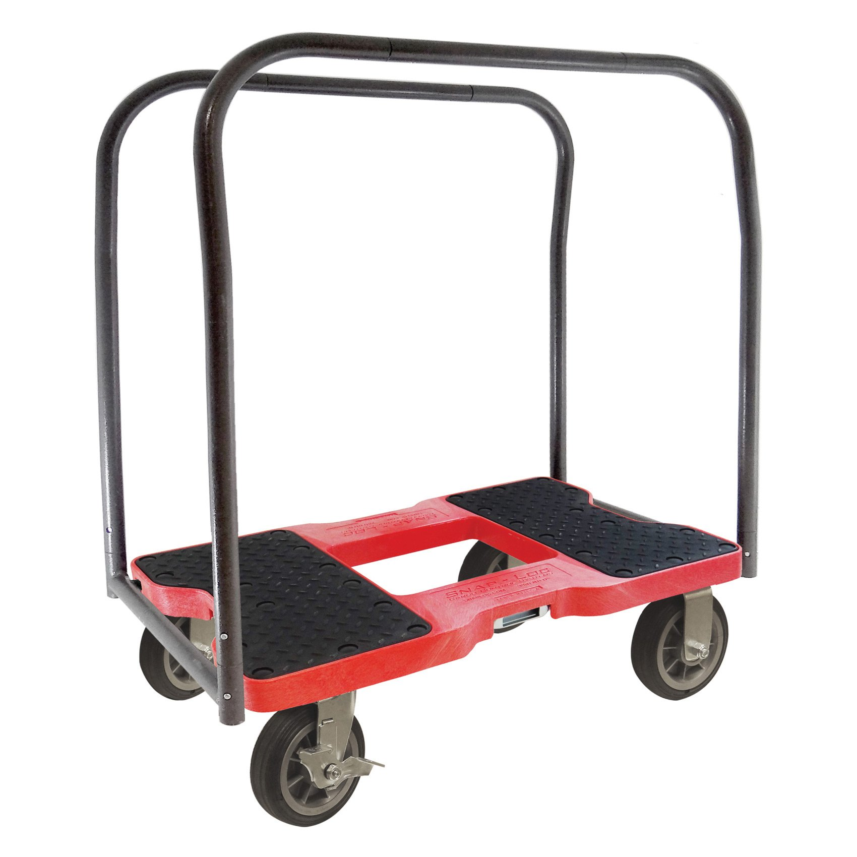 SNAP-LOC ALL-TERRAIN PANEL CART DOLLY RED with 1500 lb Capacity, Steel Frame, 4 inch Casters, Panel Bars and optional E-Strap Attachment