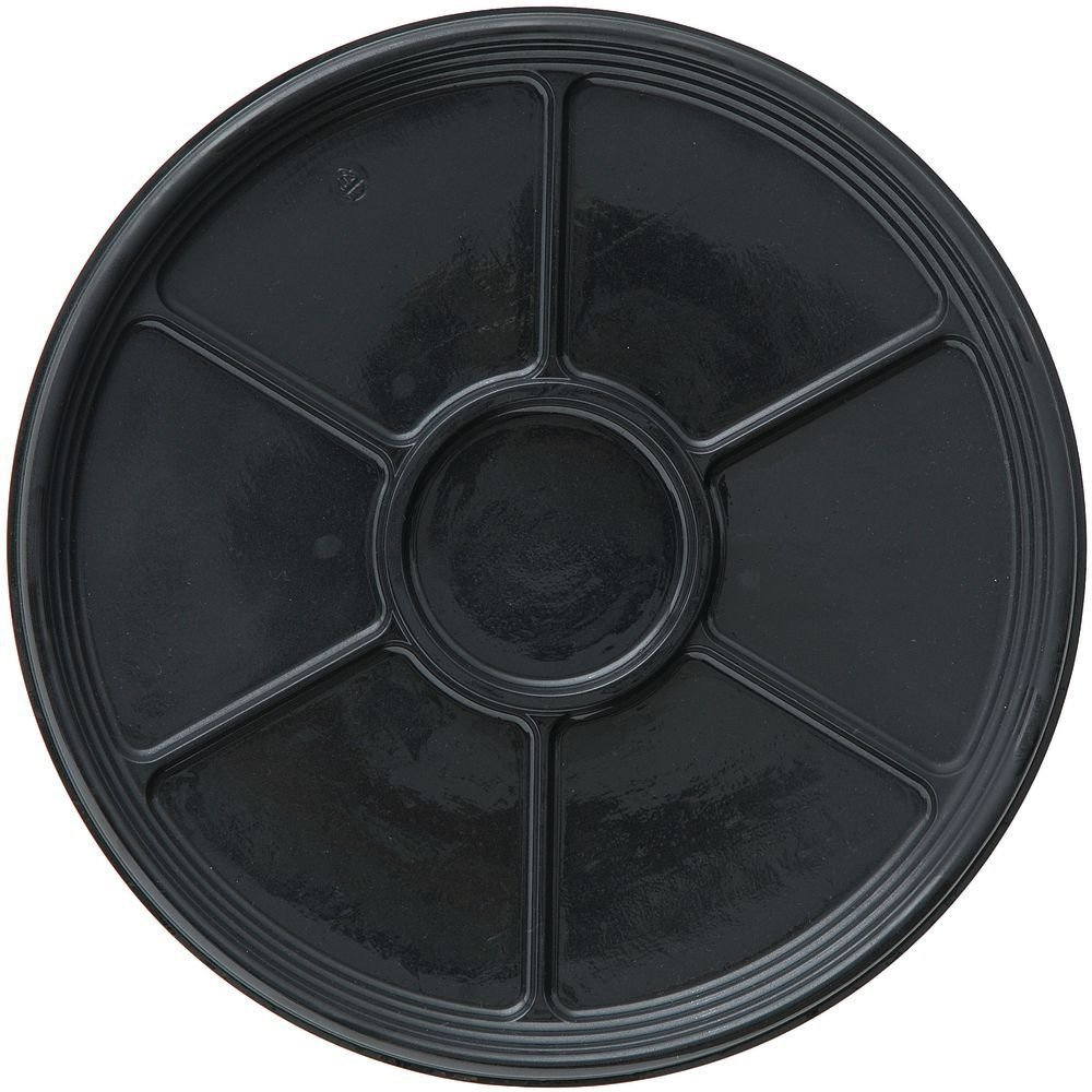 Disposable Party Tray with Center Well Black Onyx 6-Section Plastic - 18''Dia x 3/4''H