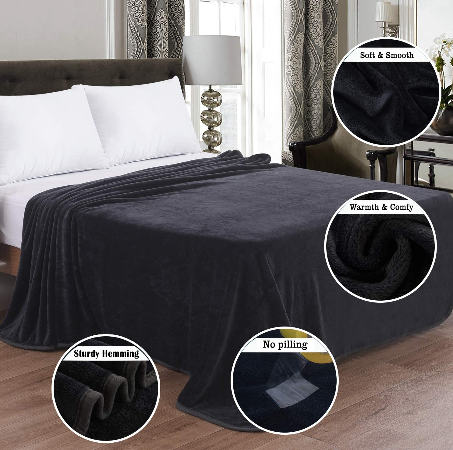 """OBOEY Polar Fleece Blankets Queen Size for Spring Summer All Season 350GSM Lightweight Microfiber Anti-Static for Bed, Couch, Home, Sofa, Car, Airplane, and Outdoors 90"""" x 90""""(Dark Gray Queen): Home & Kitchen"""