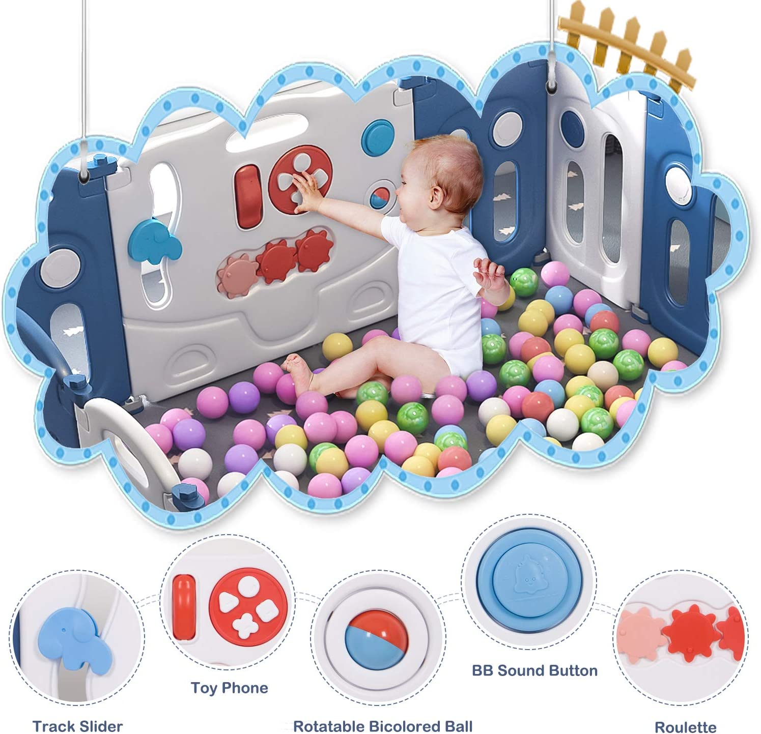 Hadwin Baby Playpen Foldable 14 Panel Activity Center Safety Playard with Lock Door Kids Fence Indoor Outdoor,Blue White