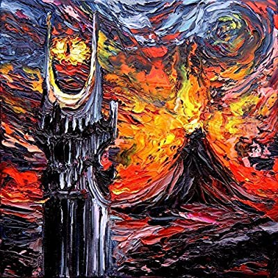van Gogh Never Saw The Land Of Shadow - Sauron Eye Art by Aja 8x8, 10x10, 12x12, 20x20, 24x24 inch sizes Mount Doom inspired