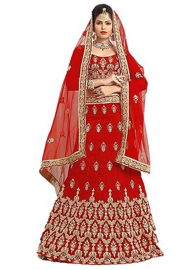 e2cb0ec91c Image Unavailable. Image not available for. Color: EthnicWear Silk Super  Stylish Designer Reception Wear Elegant Red Lehenga Choli