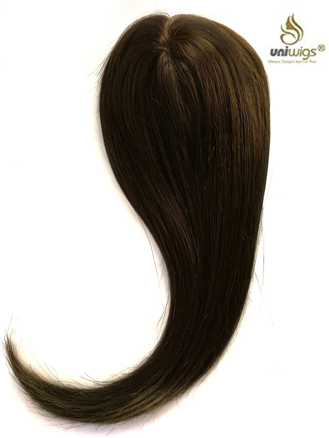 Uniwigs Remy Human Hair Mono Hairpiece, Closure, Hand Made Tied Hair Topper, Straight 16 Inches for Hair Loss (G-2) Dark Brown