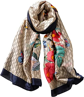 100/% Silk Scarf in Grey And Black With Colourful Floral Print Design