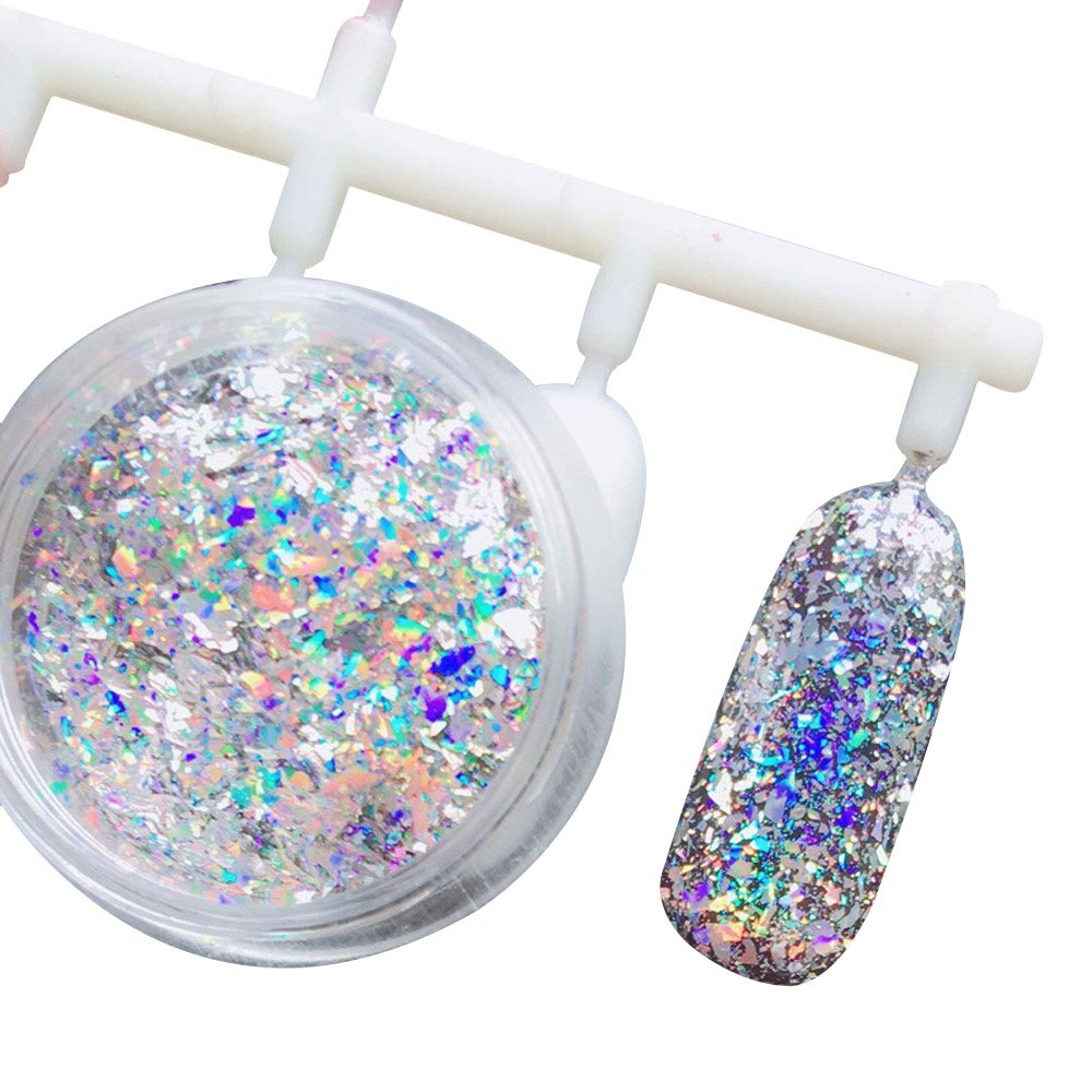 Mumustar Chameleon Magic Mirror Effect Nail Powder Dust Chunky Flakes Laser Aluminum Nail Art Glitter Pigment For UV Gel Nail Art DIY Design Accessory
