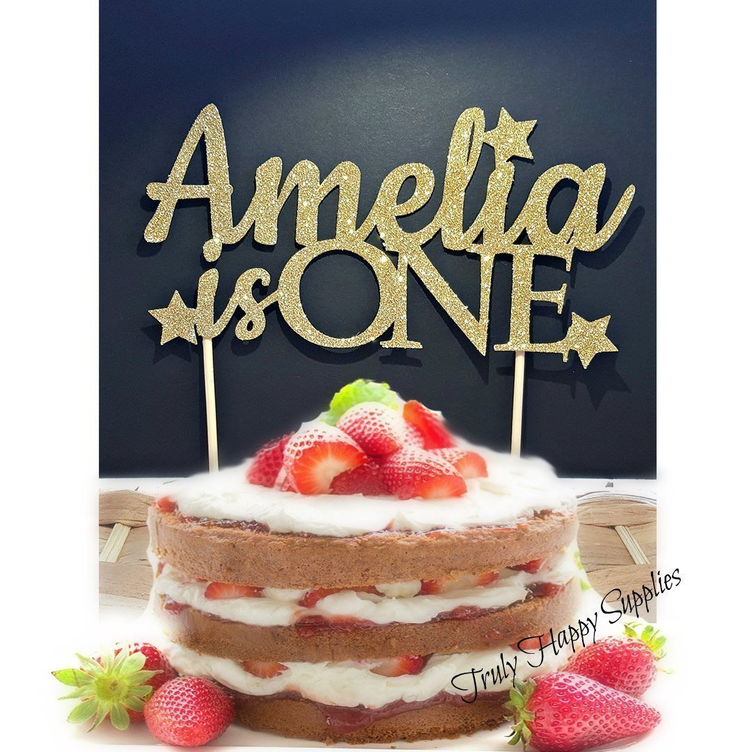 First birthday cake topper. 1st birthday Custom Name & Age 'is one' - 21 Glitter options - Personalised cake decoration