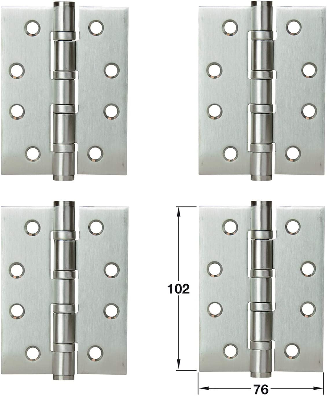 LOOTICH Bisagras de Puerta Acero Inoxidable Bisagra a Tope 102 x 76 mm para Atornillar con Rodamiento de Bolas Para Puertas de Interior sin Galce Hasta 80kg (4 Piezas)