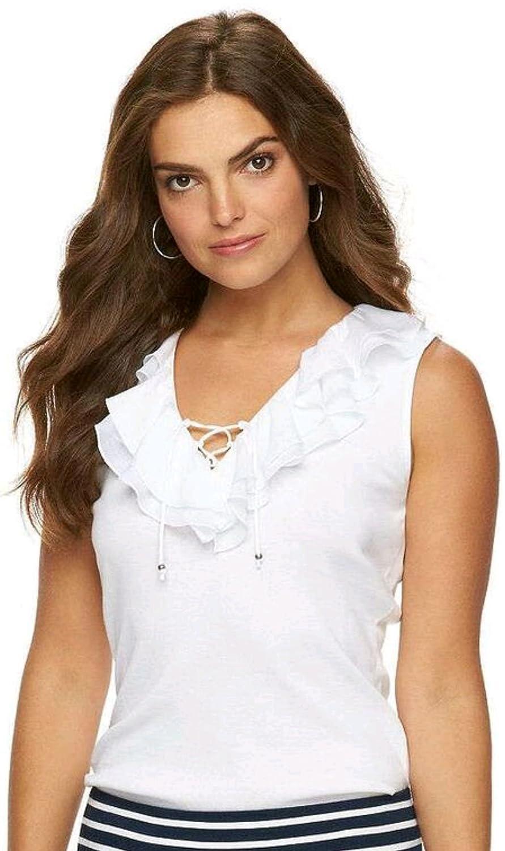 Chaps Women s Plus Size Ruffle Lace-up Sleeveless Blouse (2X 7aa0a4658
