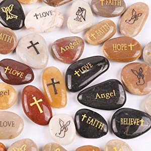 "RockImpact 50PCS Angel Guardian Angel Stones Serenity Prayer Pebble Engraved Inspirational Stones Motivational Healing Inspiring Rocks Encouragement Word Stones Wholesale Bulk, 2""-3"" ea"