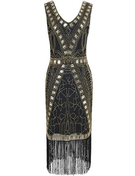 2e5fa1b8b PrettyGuide Mujeres 1920s Vestido de Flapper Art Deco Lentejuela Inspirado  Vestido de Cóctel  Amazon.es  Ropa y accesorios