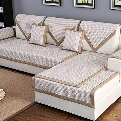 KELE Solid Color Linen Lace Quilted Sofa Cover Sectional,Furniture  Protector Thicken Stain Resistant Anti
