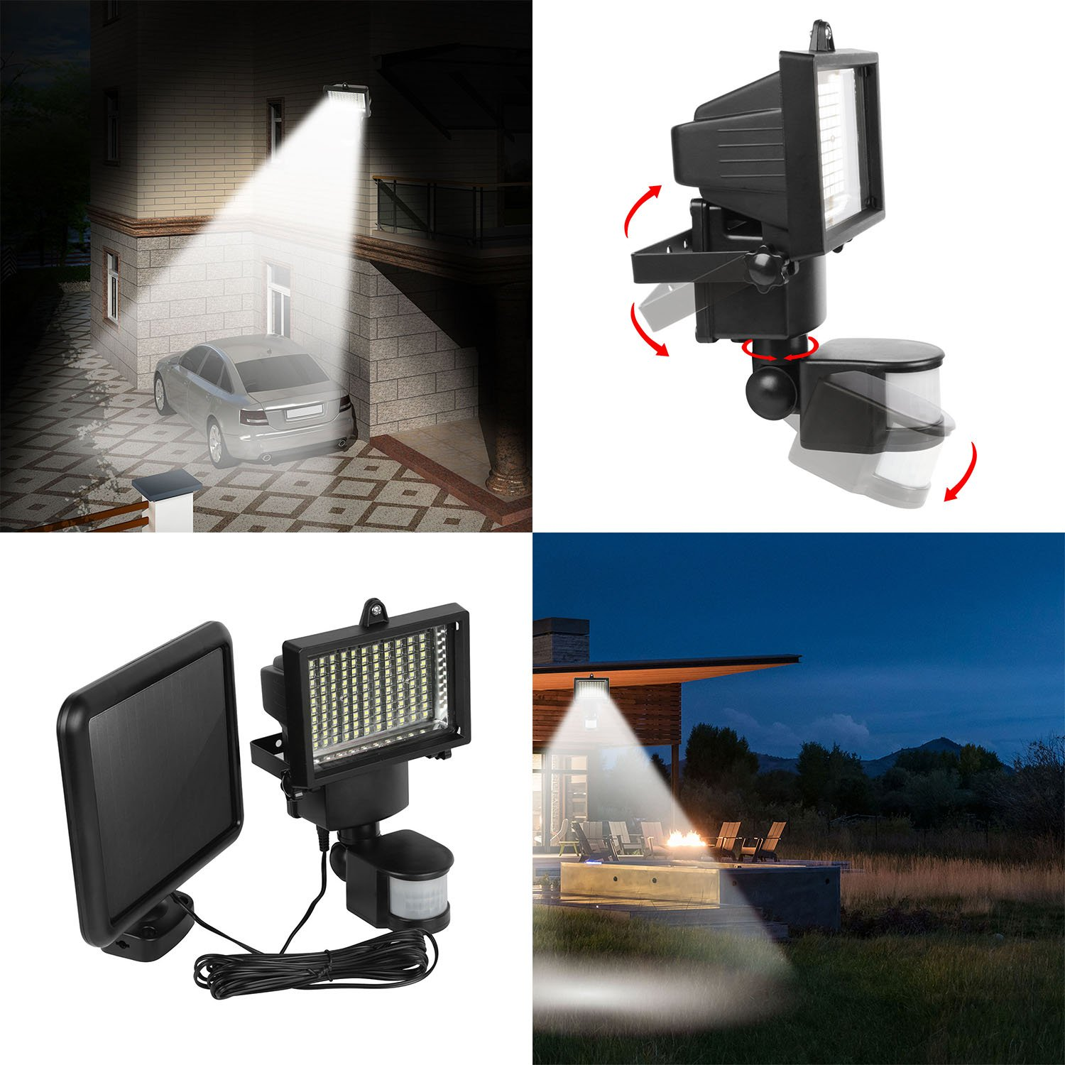 【Super Bright】GPCT 100 LED Pir Motion Sensor Auto On/Off Solar Security Light- Deck, Garden, Garage, Patio, Pathway, Yard, Driveway, Outdoor Gate, Wall, Shed, Lawn, Landscape Pool School Villa Hotel