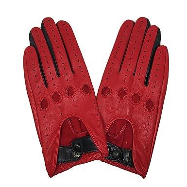 beb51a8b9 MATSU Classic Women Driving Lambskin Unlined Thin Leather Gloves Open Back  M9237 (XL, Red