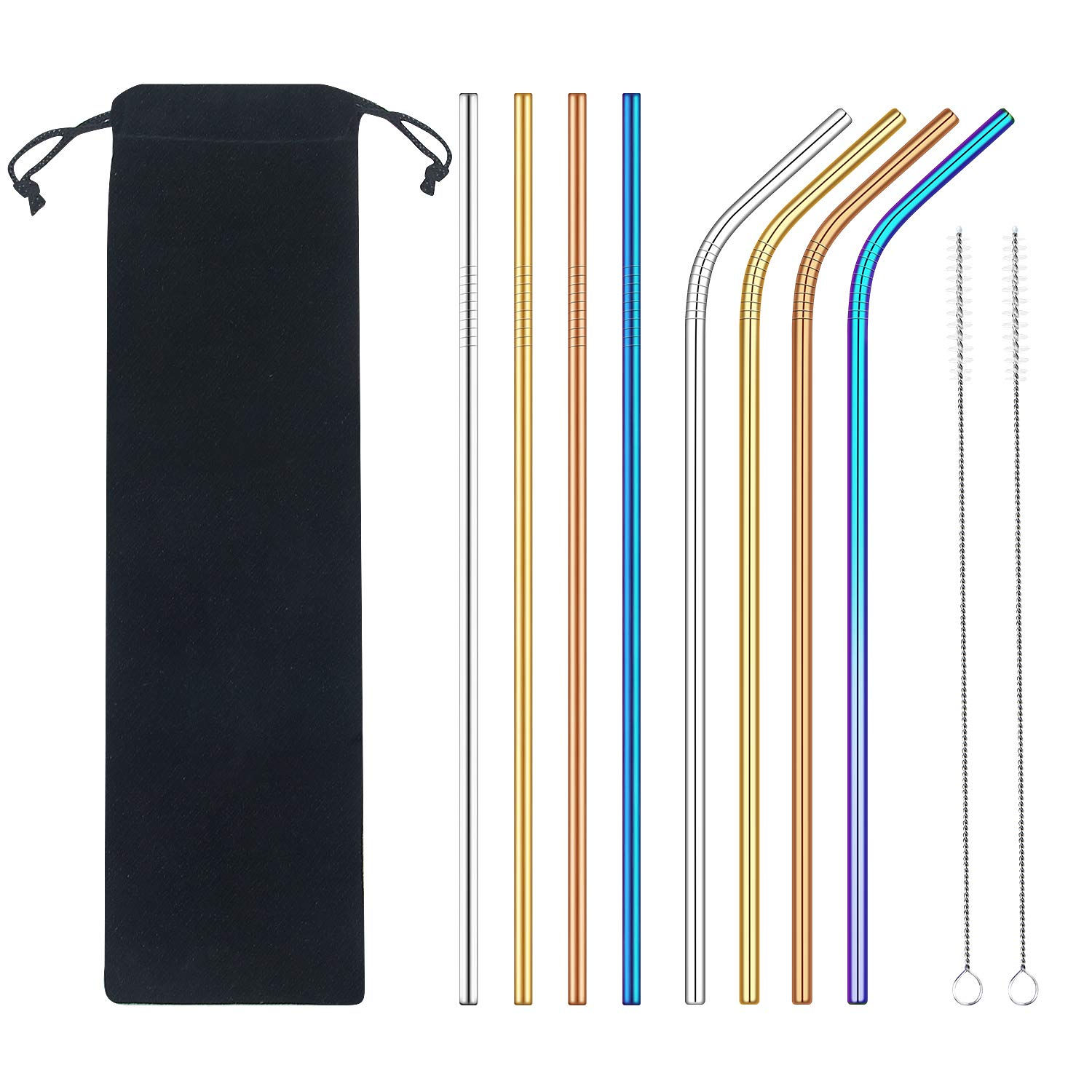 Stainless Steel Straws, Extra Long 10.5'' Metal Drinking Straws with 2 Brushes and Carry Bag (10 Pcs), FDA-Approved Environment-Friendly Straws for 20/30oz Tumblers Cold Beverage(Multicolor)