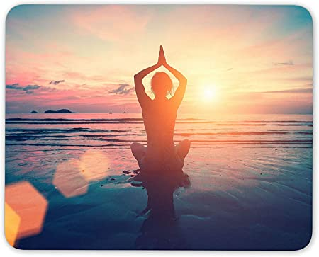 xxc78 Yoga Pose On The Beach Mouse Mat Pad - Namaste Fitness ...
