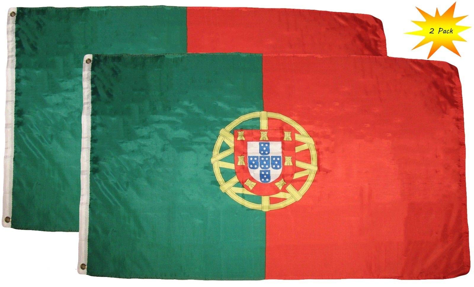 ALBATROS Portugal Flags - 2 Pack Outdoor 3 ft x 5 ft Feet Portugal Flags Portuguese National Flag for Home and Parades, Official Party, All Weather Indoors Outdoors by ALBATROS