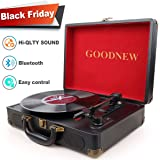 Vinyl Record Player,GOODNEW Portable Turntable with Built in Speakers,Support Headphone & RCA Output and AUX (3.5mm) Input Jack