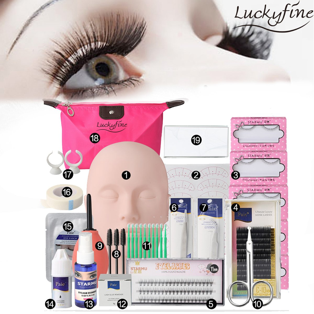 LuckyFine Pro 19pcs Eyelash Extension Kits Set False Lashes Tool Flat Head Curl Glue With Bag For Makeup Practice Eye Lashes Graft