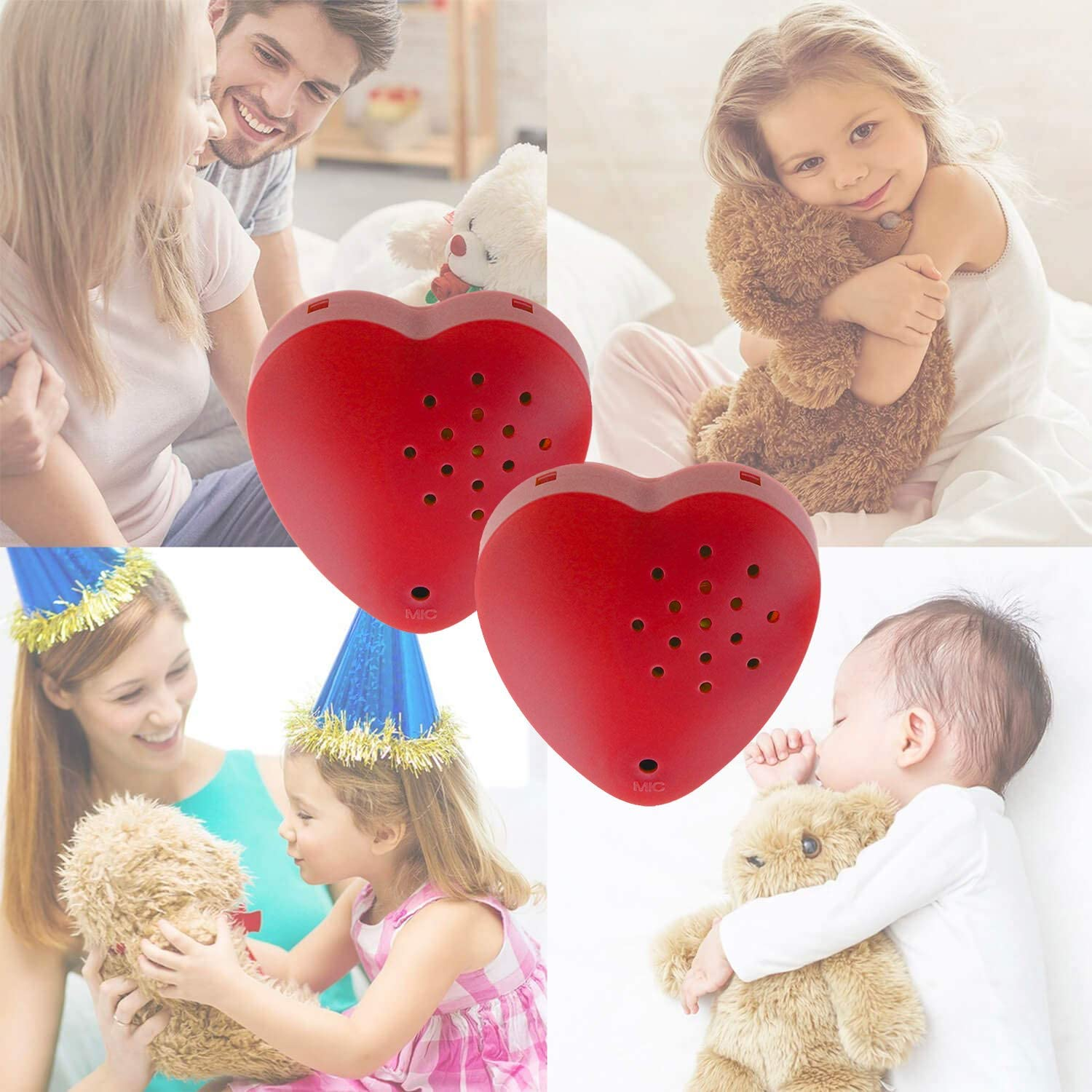 2 Pack, Inventiv 30 Second Voice Sound Recorder Module for Plush Toy, Stuffed Teddy Bear Animal Recordable Heart, Record Custom Messages (Red): Electronics