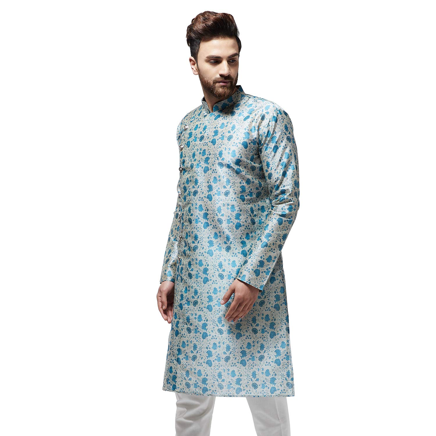 Festival-Men-Dupion-Silk-Kurta-Pajama-Ethnic-Party-Wear-Bollywood-Dress-Pyjama thumbnail 17