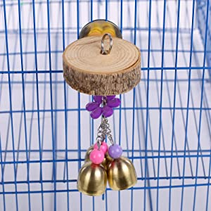 QBLEEV Bird Hanging Bell Toys Parrot Cage Chewing Toy with Wood Block, Pet Bird Bell Chew Toy with Sweet Sound for Parakeet Cockatiel Conure Lovebirds Finch Canary Lorikeet Canary Cockatoo
