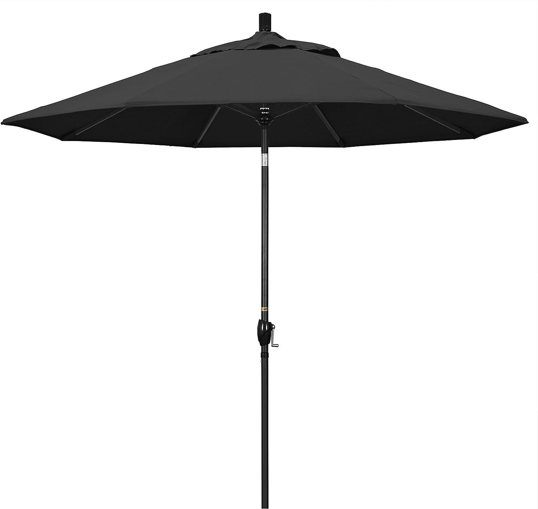 Amazon Com California Umbrella Gspt908302 Sa08 9 Round Aluminum Market Crank Lift Push Button Tilt Black Pole Pacifica Patio Umbrella Garden Outdoor