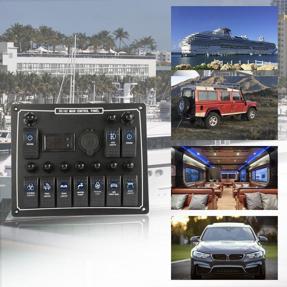 10 Gang Wasserdichte Auto Auto Stiefel Marine LED AC DC Wippschalter Panel Dual 15A (farbe  Schwarz)
