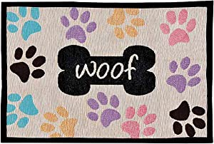 Loving Pets Bella Fashion Mat for Dogs, Woof with Multi Paws
