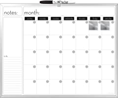 Board Dudes 16 X 20-Inch Aluminum Framed Magnetic Dry-Erase Calendar, Includes 1 Marker and 2 Magnets (CYG21)