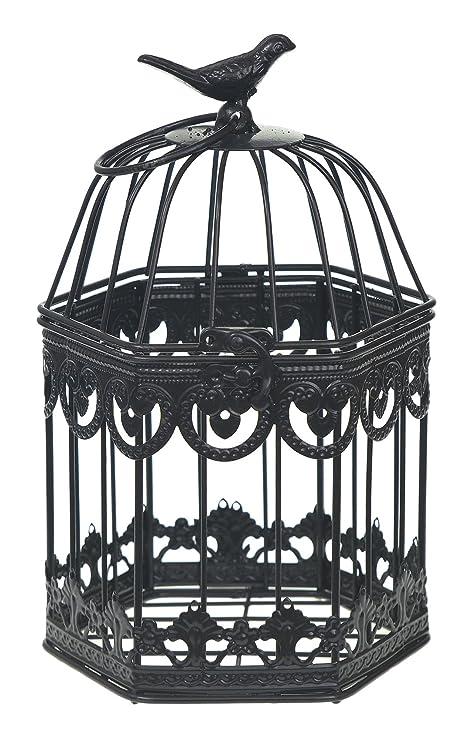 Negro Hexagon Boda jaula té luz titular de la tarjeta mesa centro ...