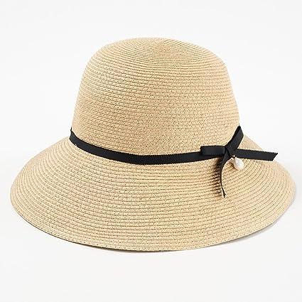 Sombreros de Paja Hembra Verano Sunscreen Playa sombrilla Lavabo Pescador  Sol QIQIDEDIAN (Color   Beige 88c45f6f942