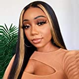 Beauty Forever 13x4 Highlight Straight Bob Lace Front Wig Human Hair Wigs,150% Density Brazilian Ombre Color Pre Plucked with