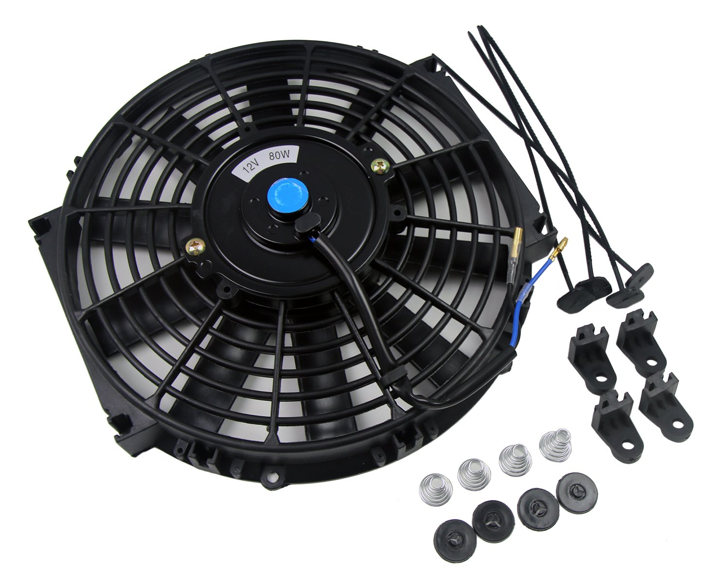 SUNDELY 10 inch 12V 80W Universal Slim Line Straight Blade Electric Radiator Engine Cooling Fan