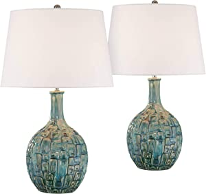 Mid Century Modern Table Lamps Set of 2 Ceramic Teal Glaze Handcrafted White Empire Shade for Living Room Bedroom - 360 Lighting