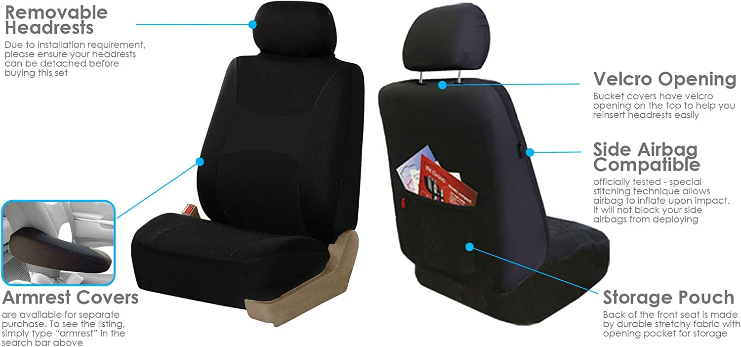 FH Group FB030RED115WB-AVC Red Combo Set with Steering Wheel Cover and Seat Belt Pad Airbag Compatible and Split Bench