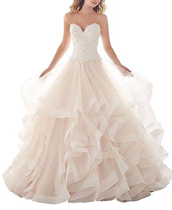 YinWen Women\'s Sweetheart Lace Applique Layered Ruffles Skirt ...