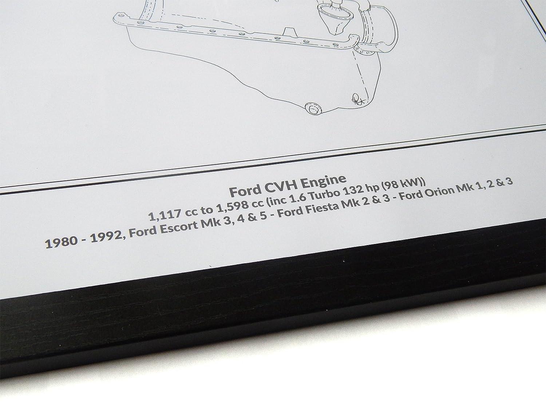 Ford CVH RS Turbo Classic Motor Diagramm Schematische A2 A3 Größe Hand  Drawn gerahmtes Bild: