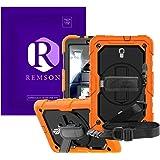 Samsung Galaxy Tab A 10.5 T590 2018 Remson هيكل كامل صلب مقاوم للصدمات مع مسند / غطاء حزام الكتف, برتقالي