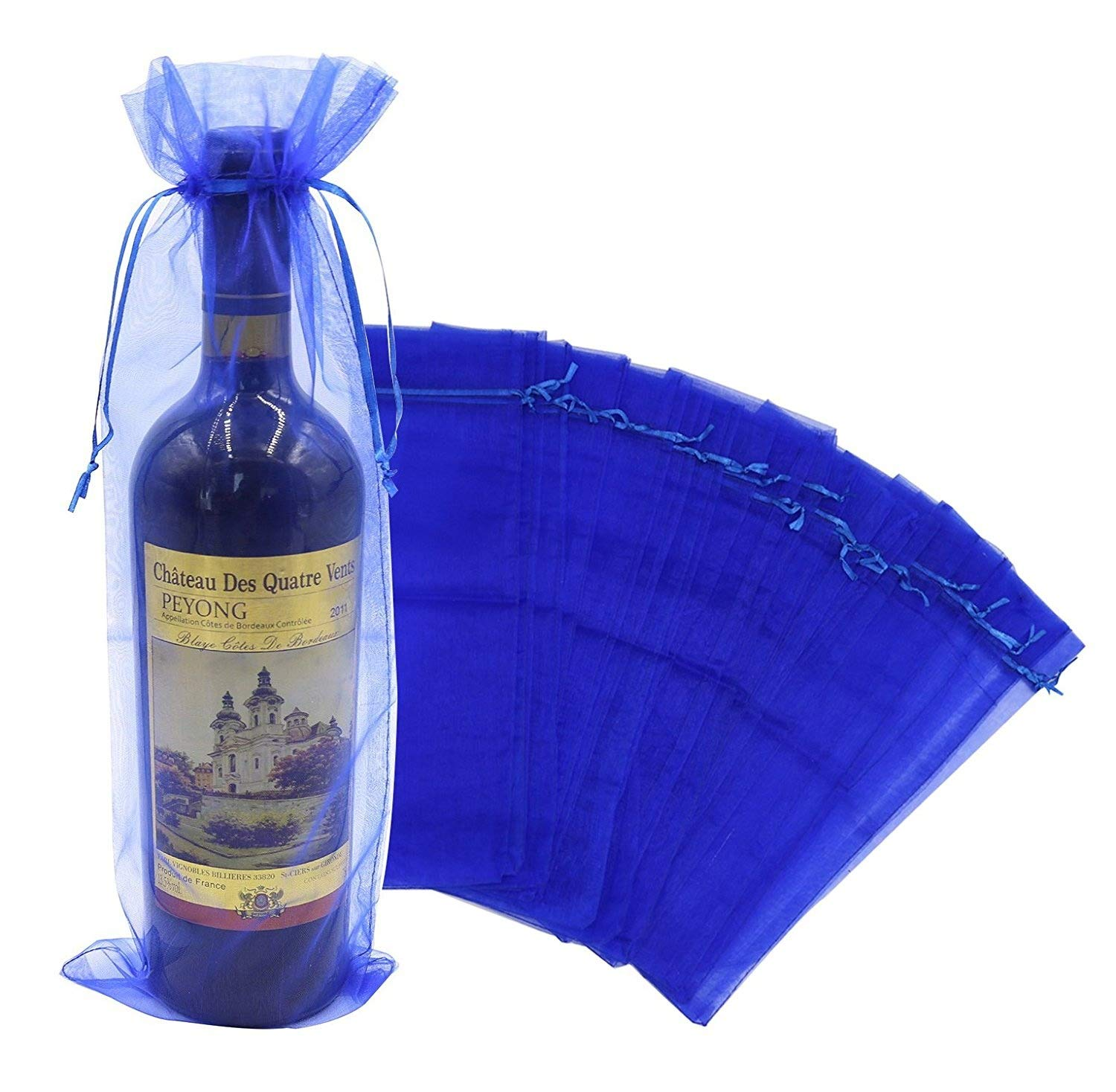 Wuligirl 20pcs Blue Organza Wine Bags Wedding Christmas Champagne Bottles Party Baby Shower Prizes Favors Drawstring Pouches Reusable Simple Bottle Wrap,5.5 by 14.5 Inch(20pcs Blue)
