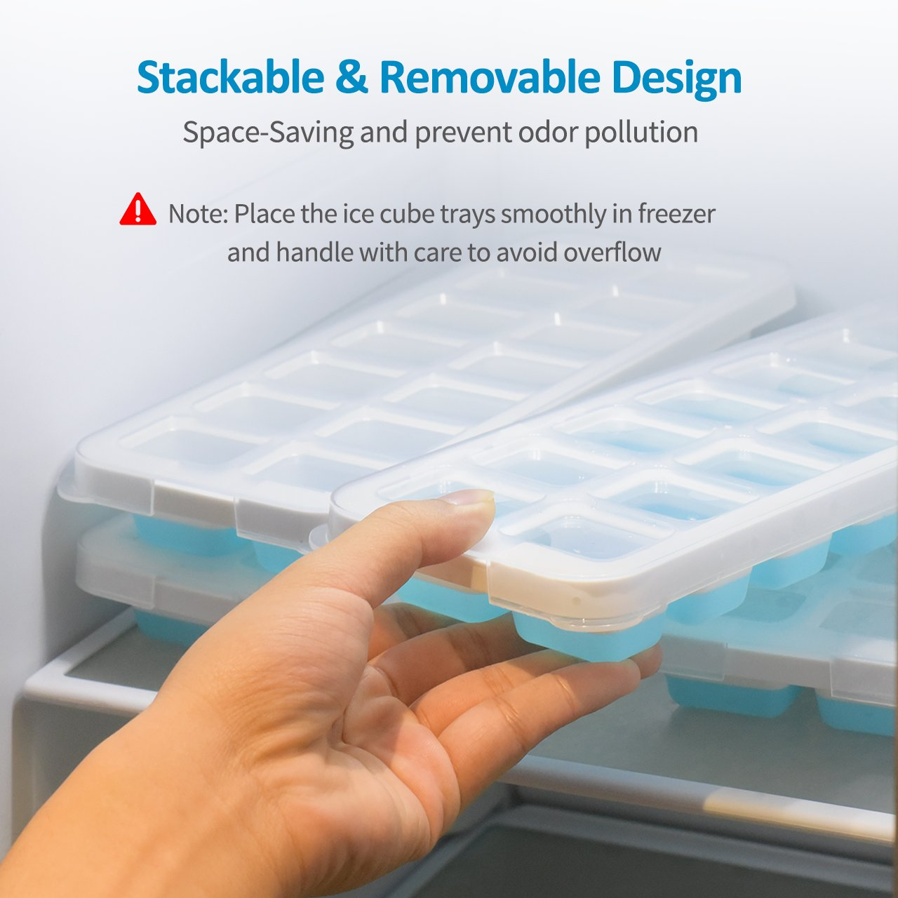 OMorc Ice Cube Trays 4 Pack [Upgraded Version], Easy-Release Silicone and Flexible 14-Ice Trays with Unique Removable Lid, Make Larger Ice Cubes, BPA Free, Stackable Durable and Dishwasher Safe by OMORC (Image #6)